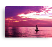 Sailing Into The Setting Sun Canvas Print