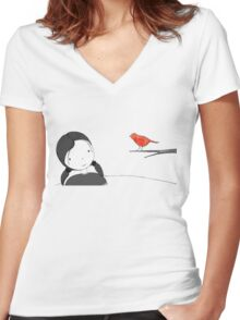 lil girl and red birdy as a tee Women's Fitted V-Neck T-Shirt