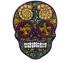 Winter Skull Holly king- Purple by Vicky Stonebridge
