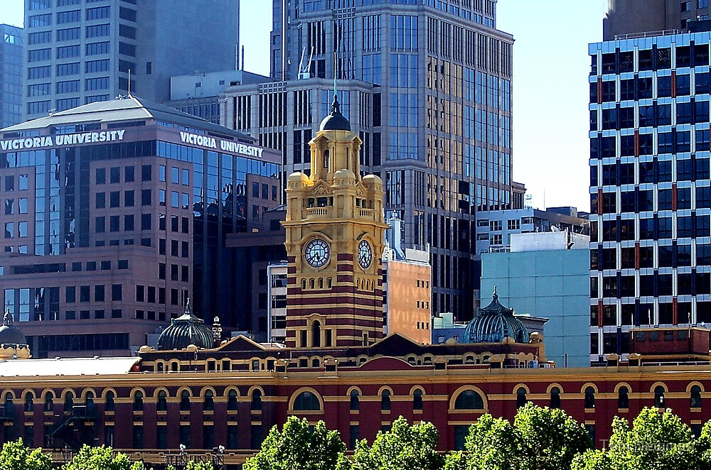 Flinders Street Station Clock Tower by Tom Newman