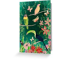 TROPICAL BIRDS (and flowers, and bugs and butterflies) Greeting Card