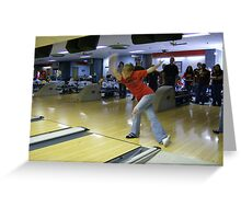 Bowling in Perfect Form Greeting Card
