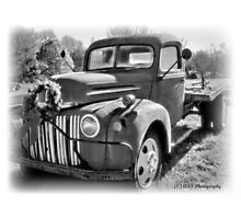 Christmas Truck B&W Photographic Print
