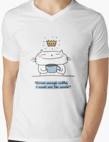 'With enough coffee, I could rule the world' / Cat doodle Mens V-Neck T-Shirt