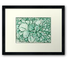 Green Lines and Shapes Framed Print