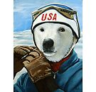 Winter Olympic Skier - Polar Bear animal art by LindaAppleArt