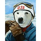 Winter Olympic Skier - Polar Bear animal art by LindaAppleArt