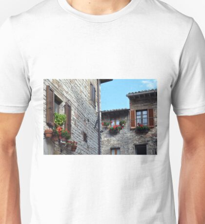 Stone buildings with flowers at the windows in Assisi, Italy Unisex T-Shirt