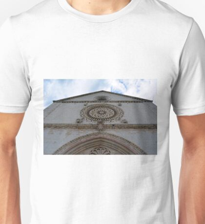 White church facade with rosette in Assisi, Italy Unisex T-Shirt