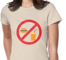NO FOOD or DRINK hamburger and soft drink Womens Fitted T-Shirt