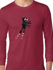 Black Flying Robot Long Sleeve T-Shirt