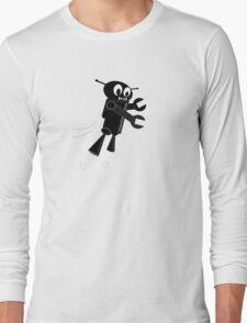 Black Flying Robot Long Sleeve T-Shirt