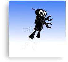 Black Flying Robot Canvas Print