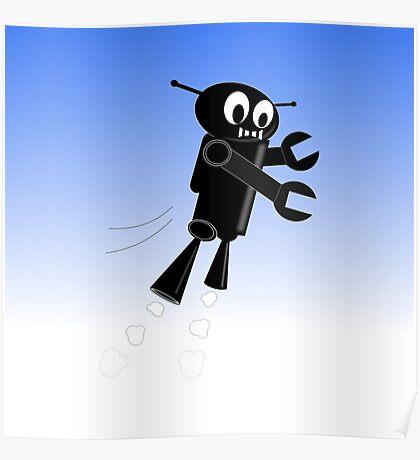 Black Flying Robot Poster