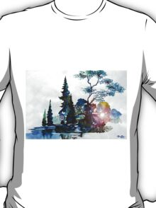Watercolor Forest and Pond T-Shirt