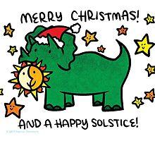 Christmas Dinosaur Triceratops by Brikit