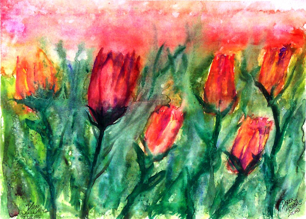 Tulips watercolor painting print by derekmccrea