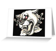 Cougar Tattoo Flash Greeting Card