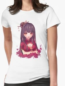Girl and Flowers Womens Fitted T-Shirt