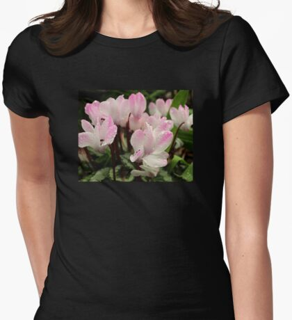 Pink and White Cyclamen Flowers Womens Fitted T-Shirt