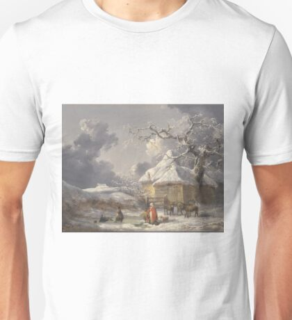 George Morland - Winter Landscape With Figures Ca. 1785 Unisex T-Shirt
