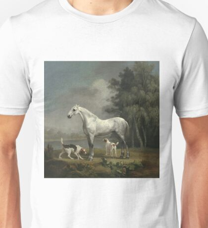 George Stubbs - A Dapple Grey Hunter With Two Foxhounds Beside A Lake Unisex T-Shirt
