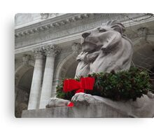 Lion Sculpture, Holiday Decorations, New York Public Library, New York City Canvas Print