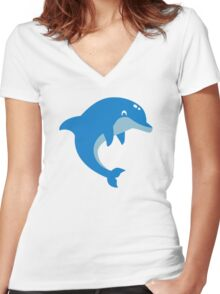 Blue Dolphin Women's Fitted V-Neck T-Shirt