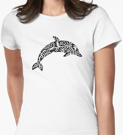 Black dolphin design Womens Fitted T-Shirt