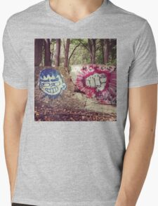 Broken Wall in Woods Mens V-Neck T-Shirt