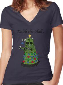 Dalek the Halls Women's Fitted V-Neck T-Shirt