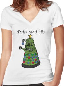 Dalek the Halls Women's Fitted V-Neck T-Shirt