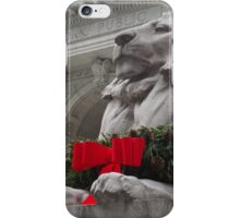 Lion Sculpture, Holiday Decorations, New York Public Library, New York City iPhone Case/Skin