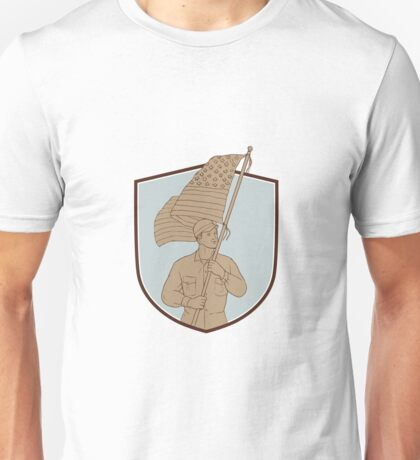 American Soldier Waving USA Flag Crest Drawing Unisex T-Shirt