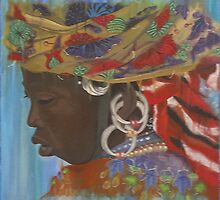 Fulani woman with headscarf by cathy savels