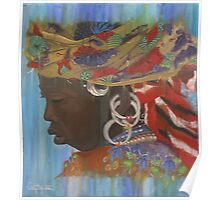 Fulani woman with headscarf Poster