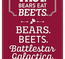 The Office Dunder Mifflin - Jim Halpert Bears. Beets. Battlestar Galactica. by noondaydesign
