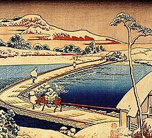 'The Swimming Bridge of Sano' by Katsushika Hokusai (Reproduction) by Roz Abellera Art