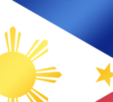 Philippines - Filipine Flag Heart & Text - Metallic Sticker