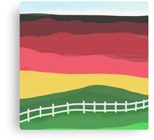 Landscape pillow, abstract red, green, gold Canvas Print