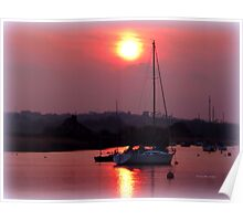 Sun Setting over Topsham Estuary Poster