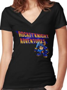 Rocket knight Adventures (Snes) Title Screen Women's Fitted V-Neck T-Shirt