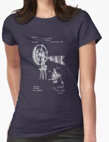1889 Aldrich Windmill Patent Art Womens Fitted T-Shirt