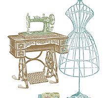 Dressmaker Kit of Dress Form, Sewing Machine and T by surgedesigns