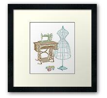 Dressmaker Kit of Dress Form, Sewing Machine and T Framed Print
