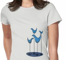 Blue Birds chatting the way blue birds chat in a puddle of blue Womens Fitted T-Shirt