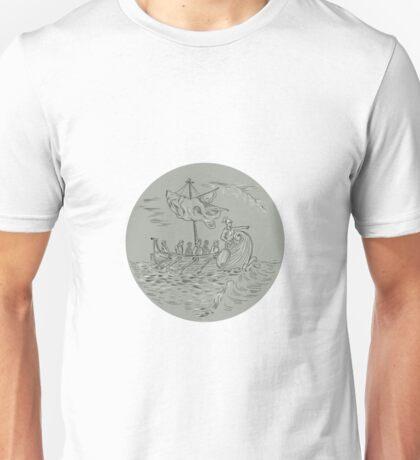 Ancient Greek Trireme Warship Circle Drawing Unisex T-Shirt