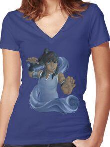 Korra Waterbends Women's Fitted V-Neck T-Shirt