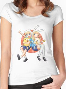 Anime Adventure Time! Women's Fitted Scoop T-Shirt