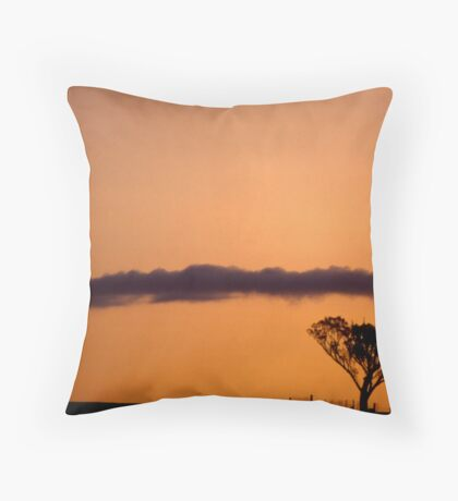 Tree, fence, cloud & sunset Throw Pillow
